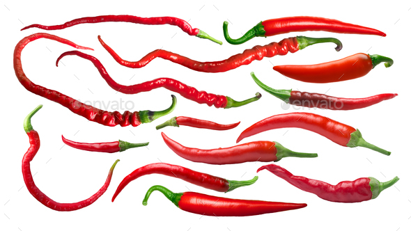 Cayenne chile peppers, paths - Stock Photo - Images
