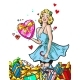 Pin Up Woman with Gifts Blond Girl Character Happy - GraphicRiver Item for Sale