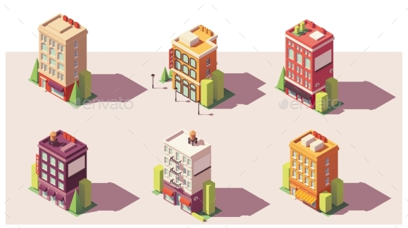Vector Low Poly Isometric Buildings Set - Buildings Objects