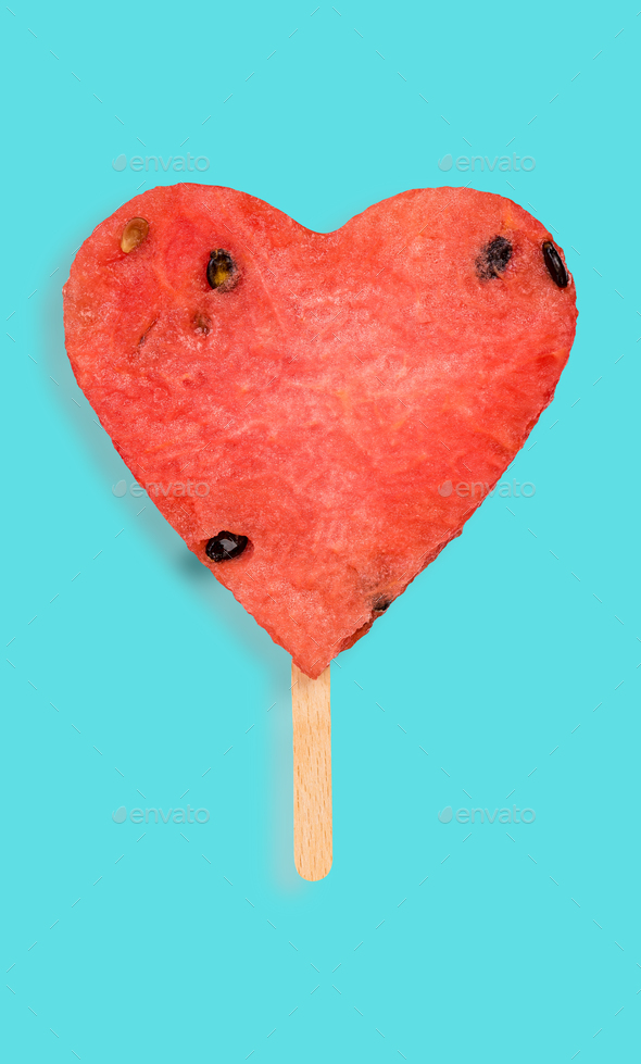 Watermelon hearth shape popsicle - Stock Photo - Images