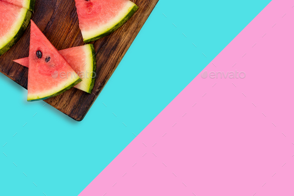 Watermelon slices, pastel background - Stock Photo - Images
