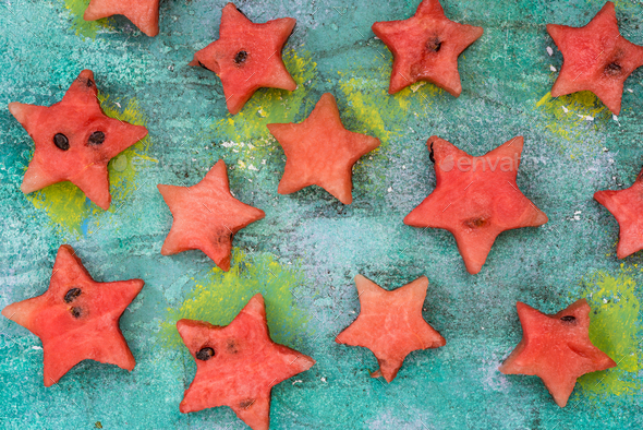 Stars cut off from watermelon - Stock Photo - Images