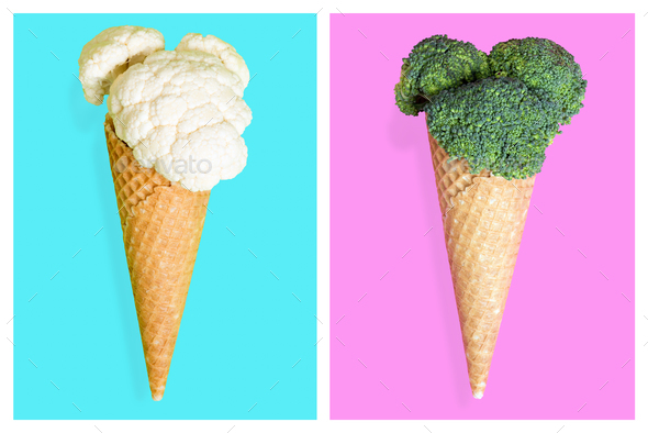 Ice cream cones with vegetables. Minimal art concept - Stock Photo - Images