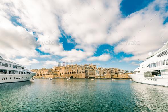 Luxury speedboat yacht in Malta marina - Stock Photo - Images