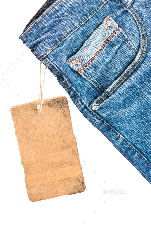 Jeans trousers label template mockup - Stock Photo - Images