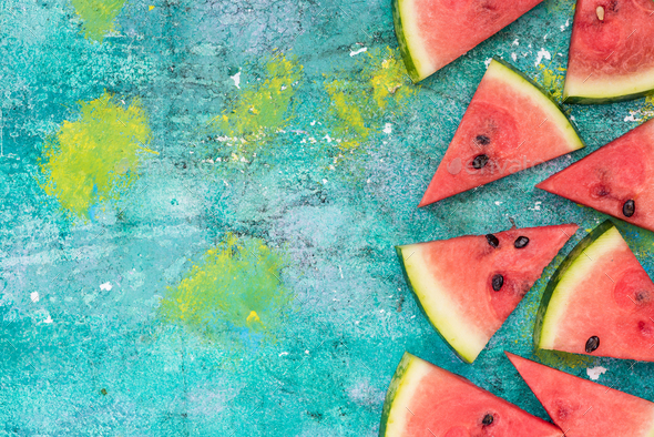 Watermelon slices, border background - Stock Photo - Images