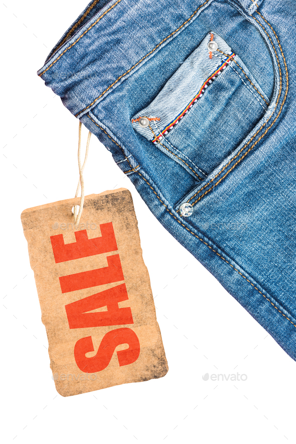Jeans trousers sale label template mockup - Stock Photo - Images