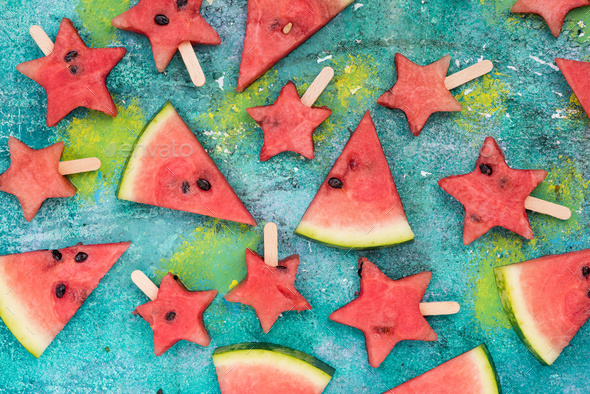 Watermelon slices and star shapes popsicles - Stock Photo - Images