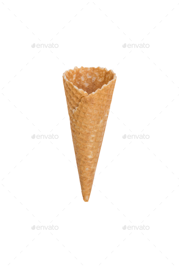 Single waffle ice cream cone isolated on white - Stock Photo - Images