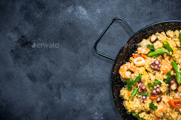 Traditional spanish paella with seafood - Stock Photo - Images