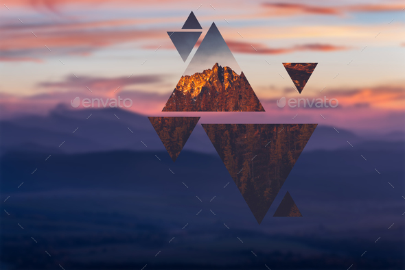 Geometric polyscape with triangles and mountains - Stock Photo - Images