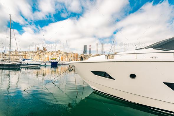 Luxury yacht in Malta marina - Stock Photo - Images