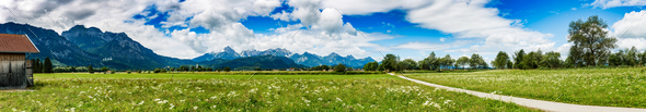 Beautiful natural landscape of the Alps. Forggensee and Schwanga - Stock Photo - Images