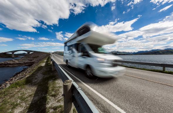 Atlantic Ocean Road Caravan car. - Stock Photo - Images