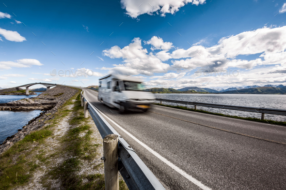 Atlantic Ocean Road Caravan car. - Stock Photo - Images