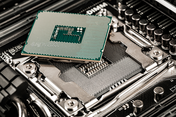Modern processor and motherboard - Stock Photo - Images