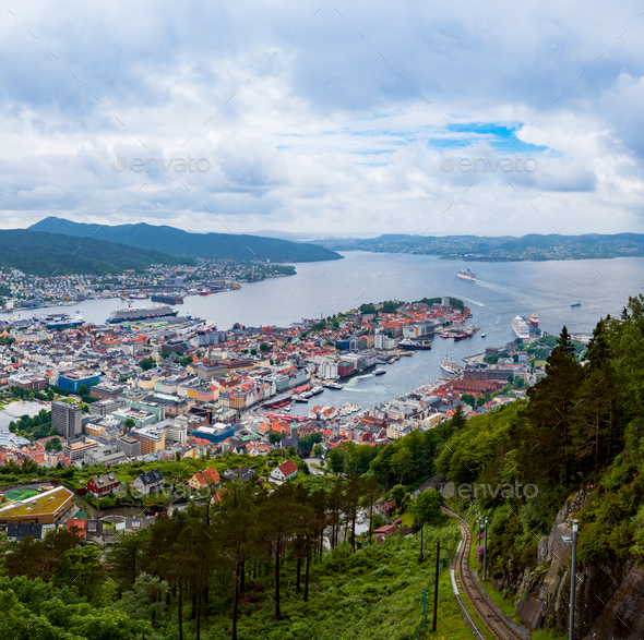 Bergen is a city and municipality in Hordaland on the west coast - Stock Photo - Images