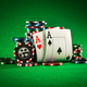 Stack of chips and two aces on the table on the green baize - PhotoDune Item for Sale