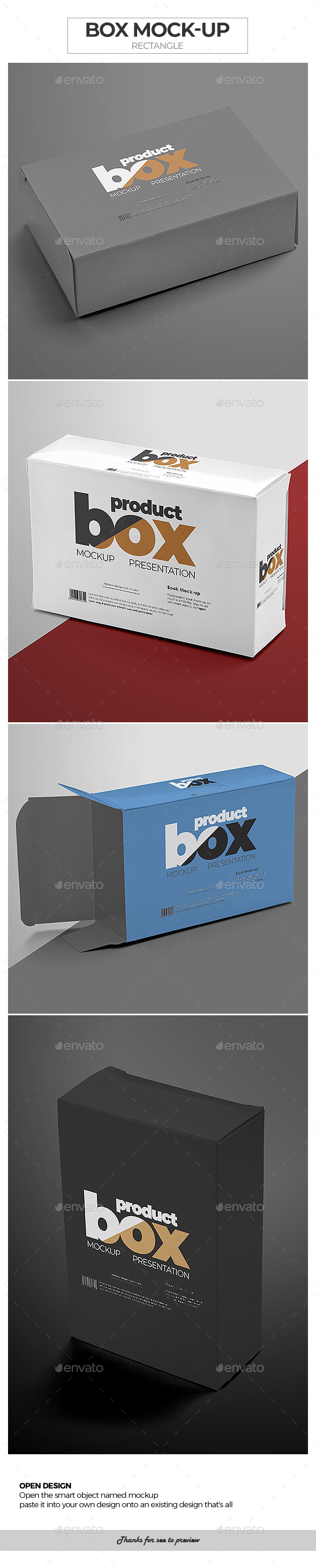Box Mock-Up / Rectangle - Packaging Product Mock-Ups