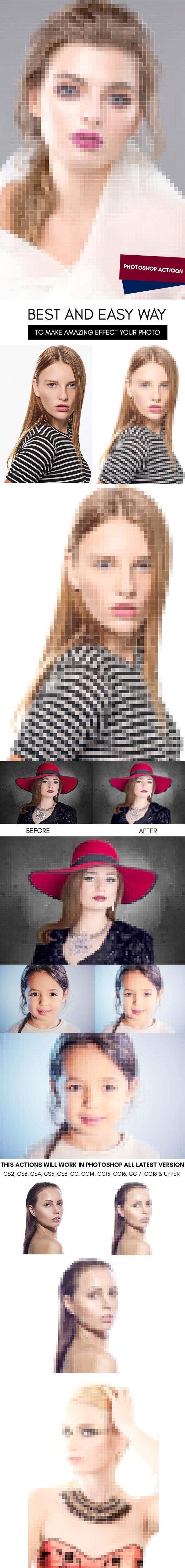 Pixel Art :: Photoshop Action - Photoshop Add-ons
