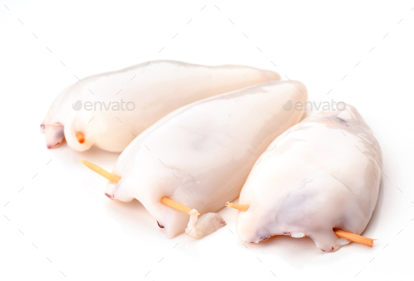 Raw squid stuffed prepared for cooking - Stock Photo - Images