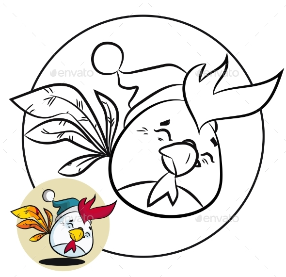 Christmas Coloring Page and New Year Bird - Animals Characters