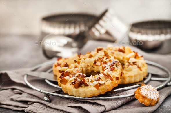 Ring shortbread cookies with peanuts on top - Stock Photo - Images