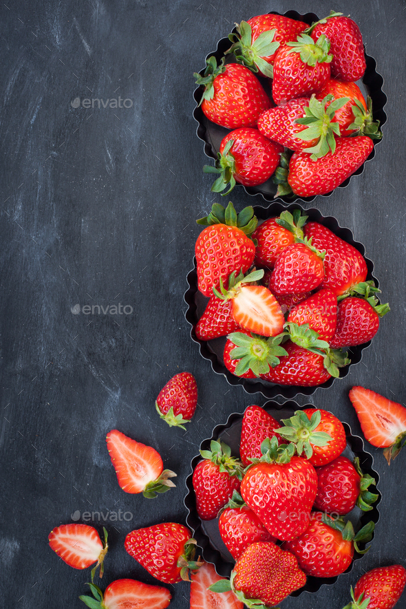 Fresh ripe strawberry on dark background - Stock Photo - Images