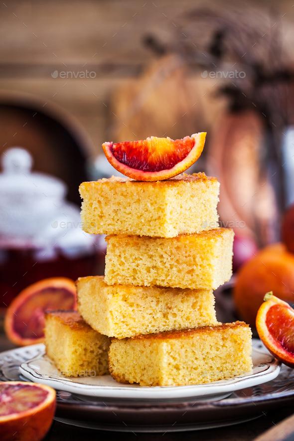 Homemade gluten-free polenta, almond and blood orange cake - Stock Photo - Images