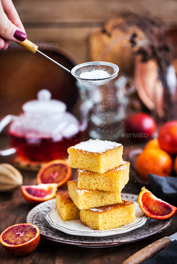Homemade gluten-free polenta, almond and blood orange cake - Stock Photo - Images