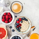 Healthy breakfast table with oatmeal porridge,  fresh berries an - PhotoDune Item for Sale