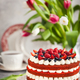 Delicious homemade red velvet cake decorated with cream and fres - PhotoDune Item for Sale