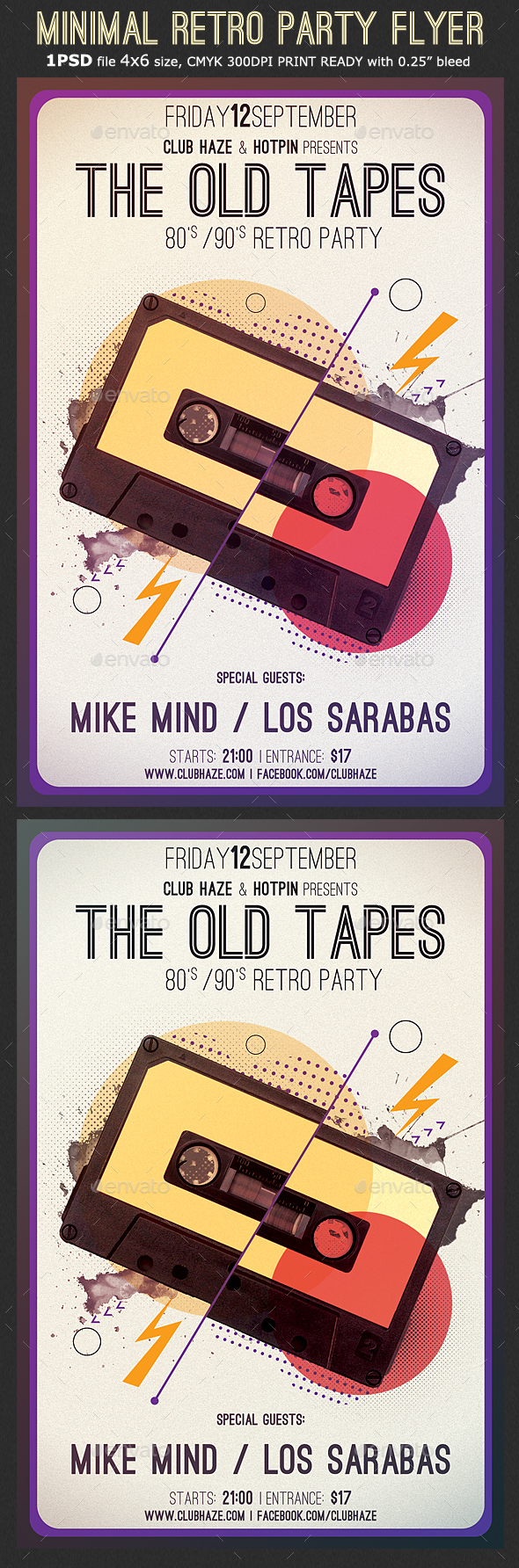 Minimal Retro Party Flyer Template - Clubs & Parties Events