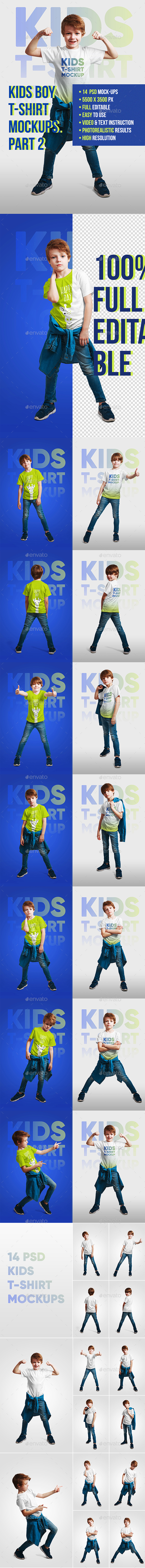 Kids Boy T-Shirt Mockups. Part 2 - T-shirts Apparel