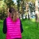 Pretty Girl Wearing Sportswear and Running in Green Forest at Mountain During Spring - VideoHive Item for Sale