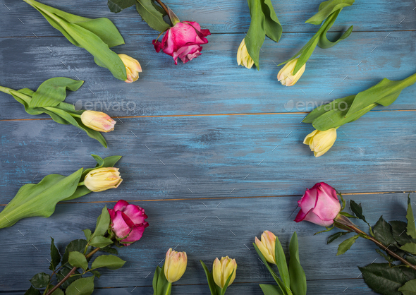 Circle of flowers on blue  background - Stock Photo - Images