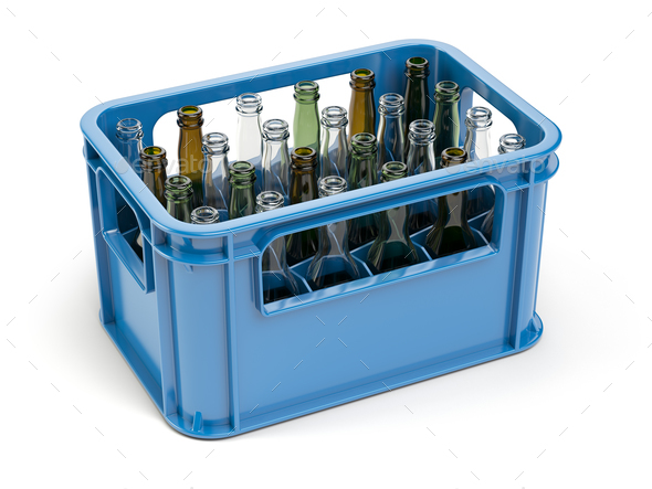 Empty bottles  in the strage crate for bottles. Glass recycling - Stock Photo - Images
