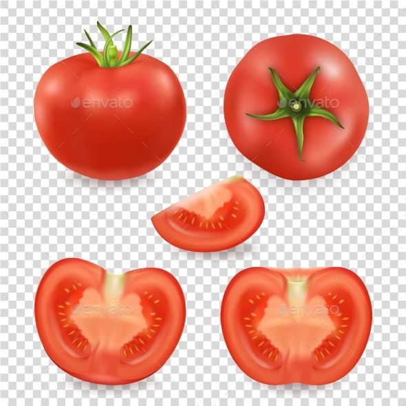 Vector 3d Realistic Different Tomato Icon Set - Food Objects