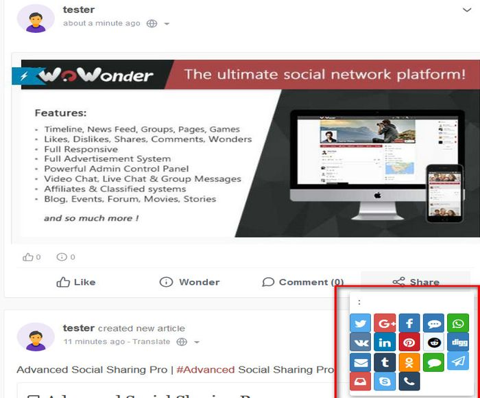 Advanced Social Sharing Pro For WoWonder - 1