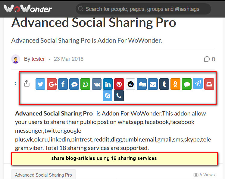Advanced Social Sharing Pro For WoWonder - 2
