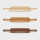 Vector Realistic 3D Wooden Rolling Pin Icon Set - GraphicRiver Item for Sale