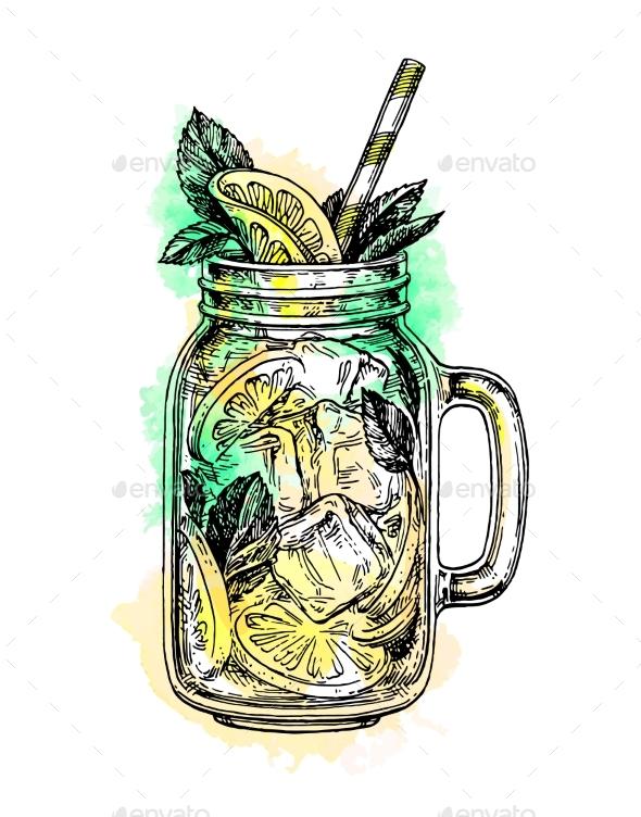 Lemonade in Mason Jar - Food Objects