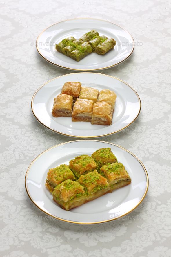 baklava, turkish desserts - Stock Photo - Images