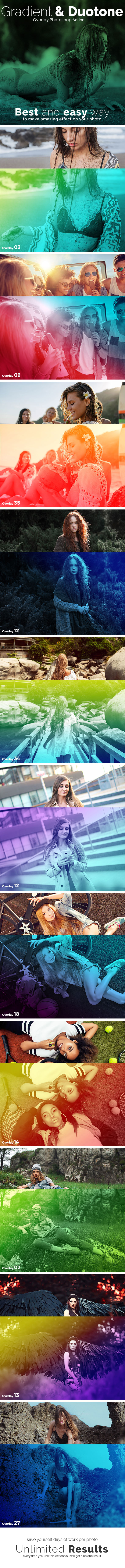 Gradient & Duotone Overlay Photoshop Action - Photo Effects Actions