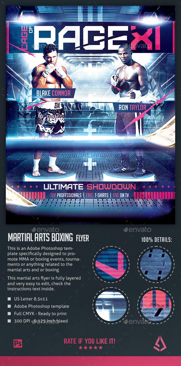 MMA Boxing Flyer Martial Arts Combat Poster - Sports Events