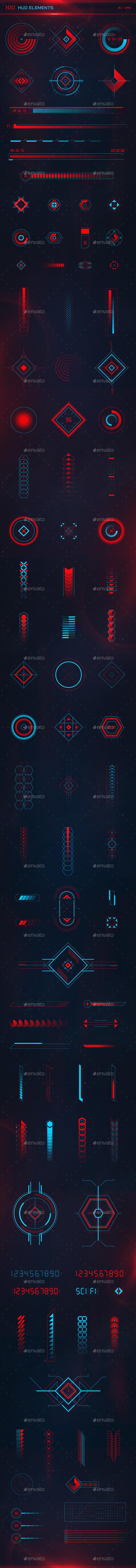 100 HUD Elements AI/EPS - Decorative Symbols Decorative