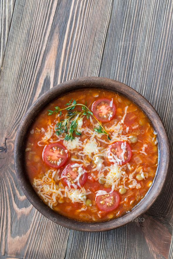 Tomato lentil soup - Stock Photo - Images