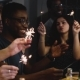 Mixed Race Young People Dance with Bengal Lights. . Birthday Celebration House Party. Happiness - VideoHive Item for Sale