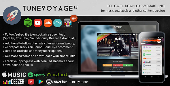 TuneVoyage - Follow to Download & Smart Links (SoundCloud/Spotify/YouTube/Deezer/Mixcloud) - CodeCanyon Item for Sale