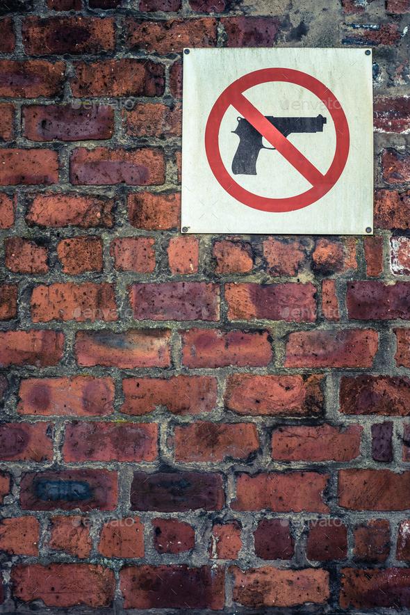 Grungy No Guns Sign - Stock Photo - Images